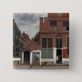 Badge Carré 5 Cm Vue des maisons à Delft la petite rue