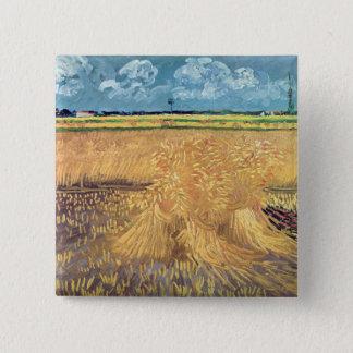 Badge Carré 5 Cm Wheatfield de Vincent van Gogh | avec des gerbes,