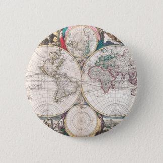 Badge Carte antique du monde de Double-Hémisphère