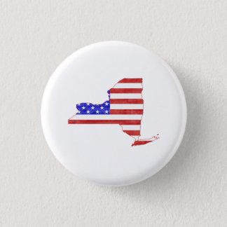 Badge Carte d'état de silhouette de drapeau de New York
