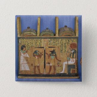 Badge Cercueil d'Ushabti avec une scène de psychostasis