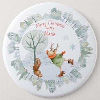 Badge Cerfs communs de patinage de glace de Joyeux Noël