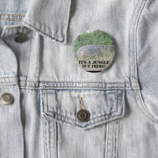"""Badge """"C'est une jungle là !"""" bouton de crocodile"""