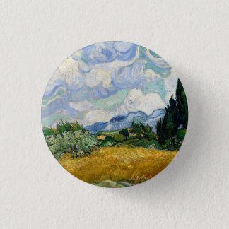 Badge Champ de blé de Vincent van Gogh avec des cyprès
