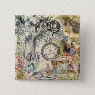 Badge Chat Alice de Cheshire au pays des merveilles