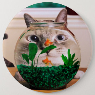 Badge Chat et poissons - chat - chats drôles - chat fou