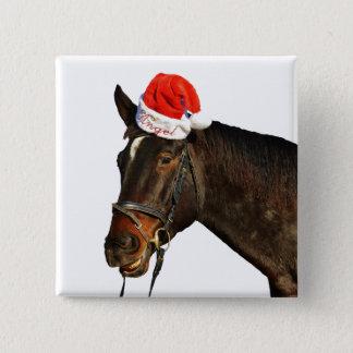 Badge Cheval père Noël - cheval de Noël - Joyeux Noël