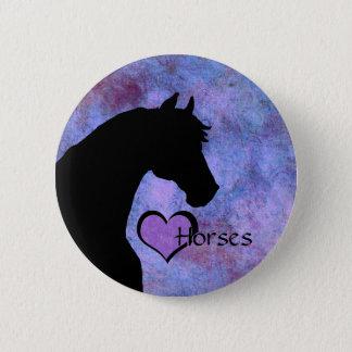 Badge Chevaux de coeur II (pourpres/bleu)
