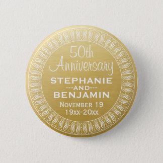 Badge cinquantième Or personnalisé d'anniversaire de