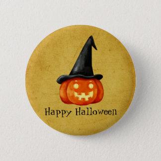 Badge Citrouille heureux de sorcière de Halloween