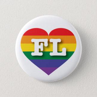 Badge Coeur d'arc-en-ciel de gay pride de la Floride -