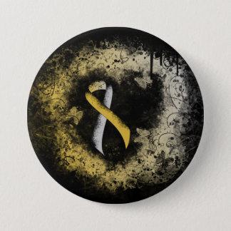Badge Coeur de grunge de ruban d'or et d'argent