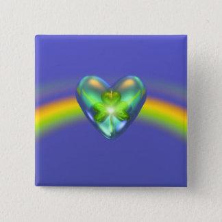 Badge Coeur de shamrock de jour de St Patricks