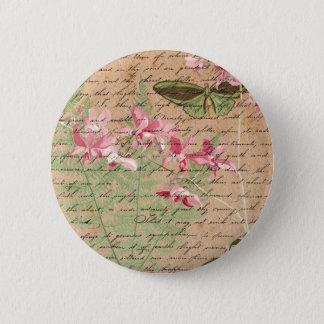 Badge Collage vintage de fougère d'orchidée