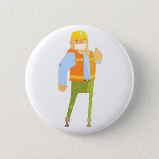 Badge Constructeur de sourire montrant des pouces sur la