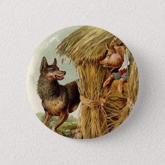 Badge Conte de fées vintage, trois petits porcs et loup