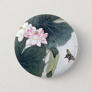 Badge Cool asiatique d'art de papillon de fleur de rose