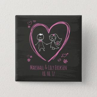 Badge Couples mignons personnalisés épousant le bouton