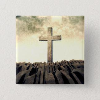 Badge Croix chrétienne sur la montagne