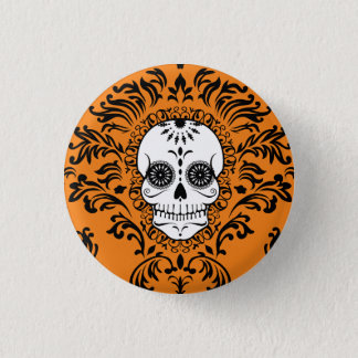 Badge Damassé morte - Pin chic de bouton de crâne de