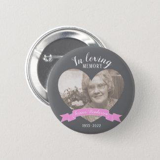 Badge Dans le bouton affectueux de ruban de rose de