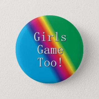 Badge De filles de jeu bouton d'arc-en-ciel trop