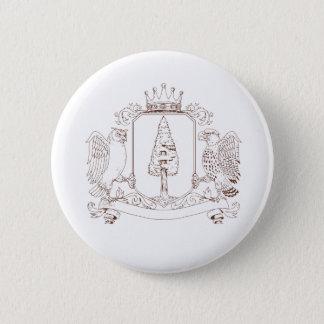 Badge Dessin de crête de couronne de séquoia de hibou et
