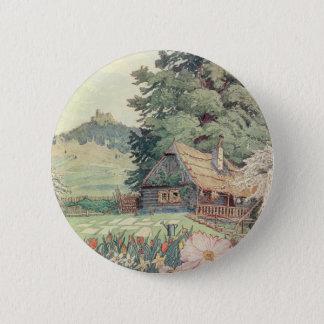 Badge Dessin vintage : Petit cottage de montagne au