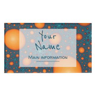 Badge D'identification Bulles oranges. Ajoutez votre texte de nom ou de