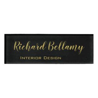 Badge D'identification Or noir simple professionnel - étiquette nommée
