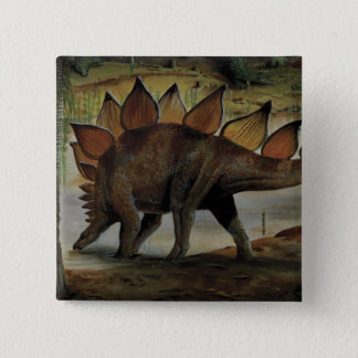 Badge Dinosaures vintages, Stegosaurus, queue avec des