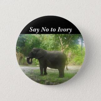 Badge Dites non à l'ivoire, bouton de Pinback d'éléphant