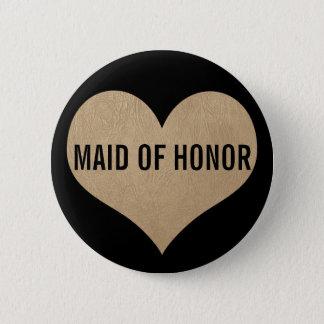 Badge Domestique de coeur d'or de texture de cuir