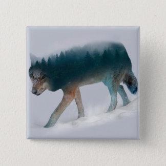 Badge Double exposition de loup - forêt de loup - loup
