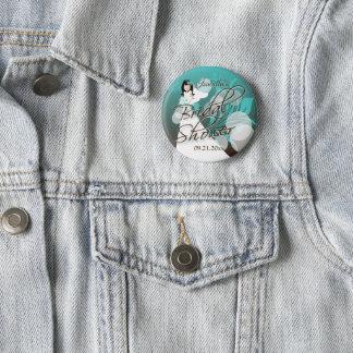 Badge Douche nuptiale dans un bleu et un Brown de