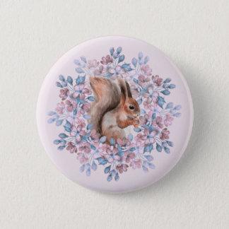 Badge Écureuil et fleurs