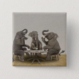 Badge Éléphants ayant le thé