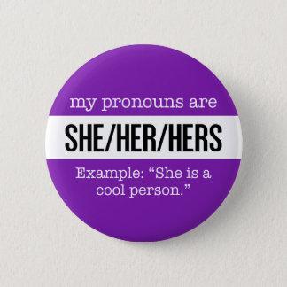 Badge Elle/ses pronoms - drapeau créatif de genre
