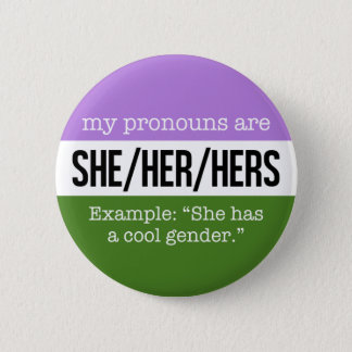 Badge Elle/ses pronoms - drapeau de Genderqueer