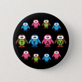 Badge Équipe personnalisable de hiboux mignons de bande