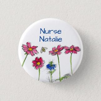 Badge Étiquette de nom d'infirmière de fleurs de cosmos