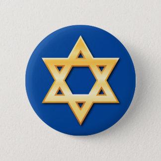 Badge Étoile de David d'or sur le bouton bleu d'arrière