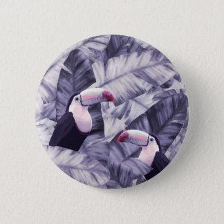 Badge Feuille tropical de banane de toucan violet