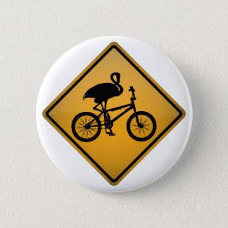Badge Flamant sur la bicyclette
