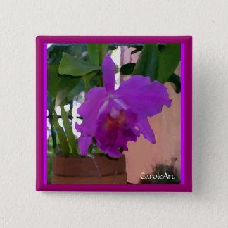 Badge Fleur pourpre mise en pot d'orchidée