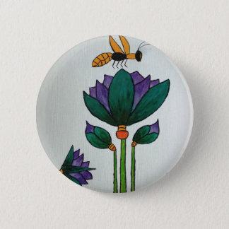 Badge Fleurs de Lotus avec l'abeille