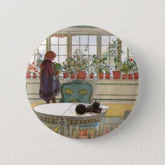 Badge Fleurs sur le rebord de fenêtre par Carl Larsson
