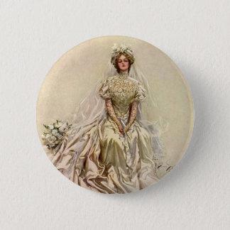 Badge Fleurs victoriennes vintages de jeune mariée,