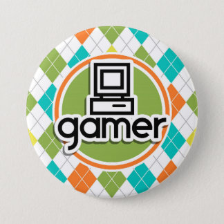 Badge Gamer ; Motif à motifs de losanges coloré