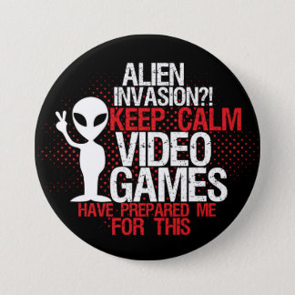 Badge Gardez le bouton drôle de Gamers d'invasion